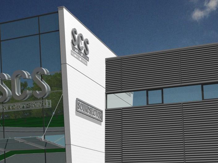 Betriebsneubau SCS GmbH in Thierhaupten mit Büro-, Produktions- und Lagerflächen, sowie Tonstudio
