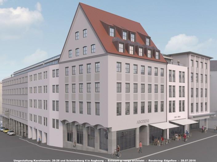 Umgestaltung der Anwesen Karolinenstr. 26-28, Schmiedberg 4 und Leonhardsberg 1-3 in Augsburg
